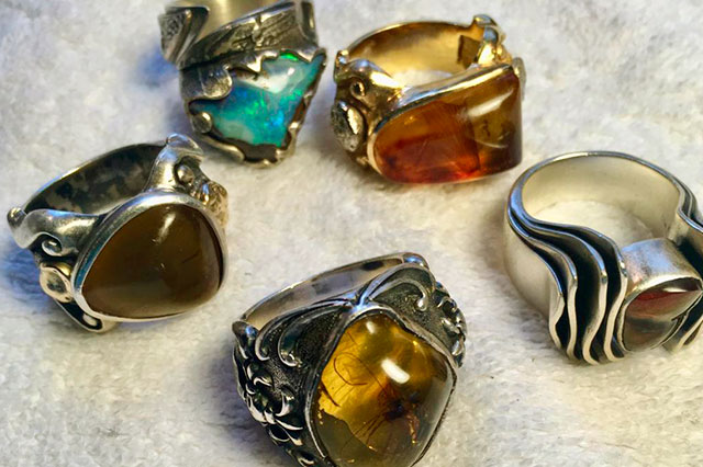 Amber, fossil, jewelry, silver, rings, insects
