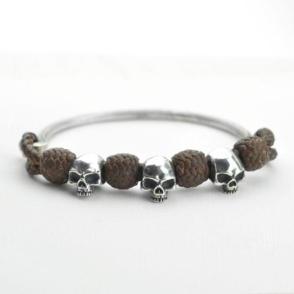 Leather bracelet with skull piece