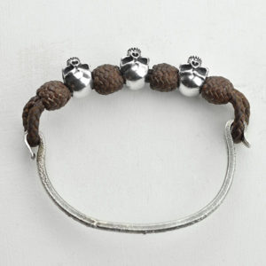Leather bracelet with skull piece