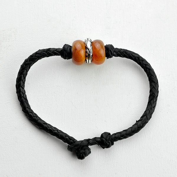 Baltic amber and leather double bracelet